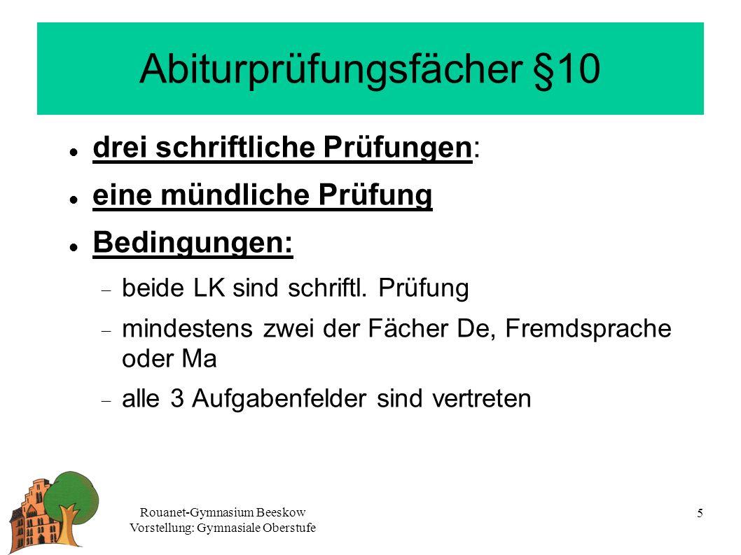 Abiturprüfungsfächer §10