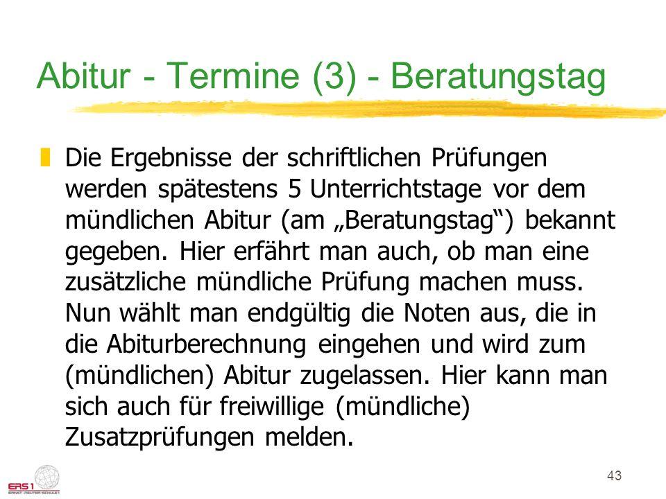 Abitur - Termine (3) - Beratungstag
