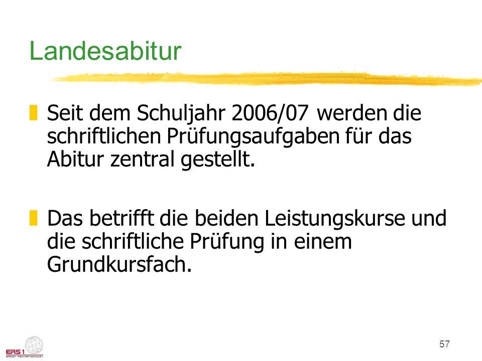 Landesabitur Seit dem Schuljahr 2006/07 werden die schriftlichen Prüfungsaufgaben für das Abitur zentral gestellt.