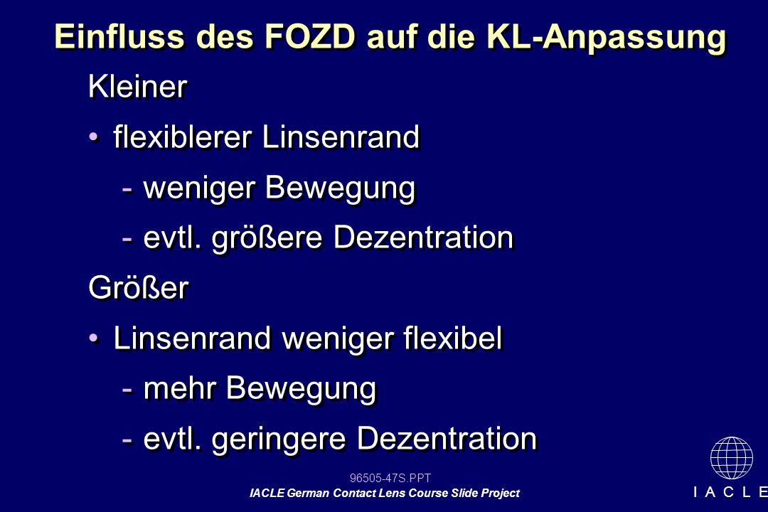 Einfluss des FOZD auf die KL-Anpassung