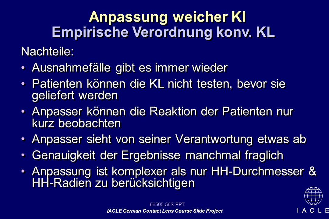 Empirische Verordnung konv. KL