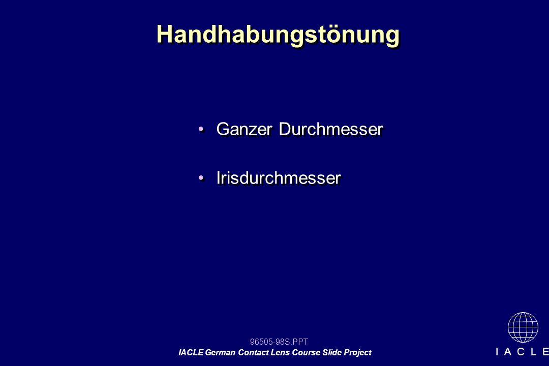 Handhabungstönung Ganzer Durchmesser Irisdurchmesser 12 12