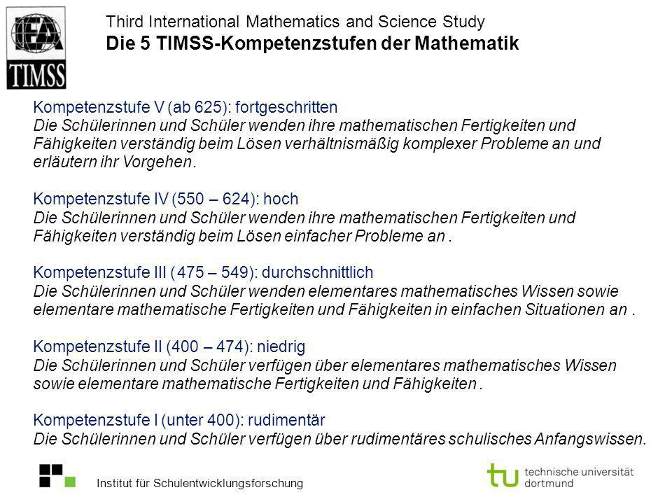 Third International Mathematics and Science Study Die 5 TIMSS-Kompetenzstufen der Mathematik
