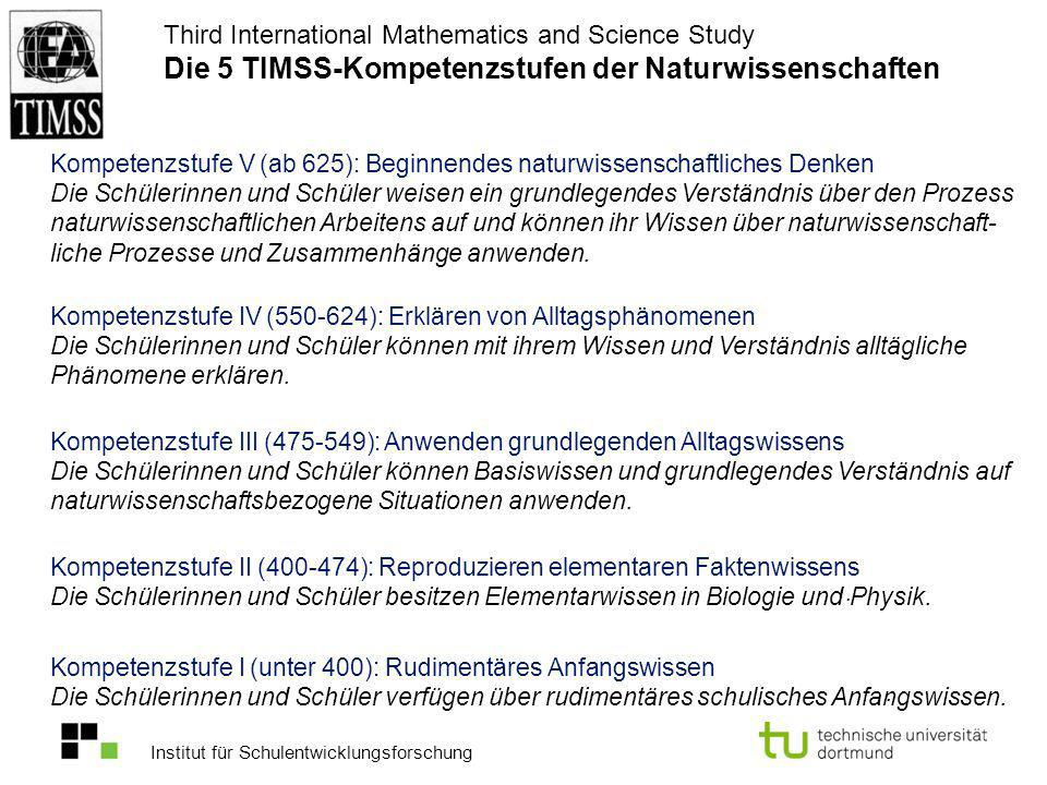 Third International Mathematics and Science Study Die 5 TIMSS-Kompetenzstufen der Naturwissenschaften