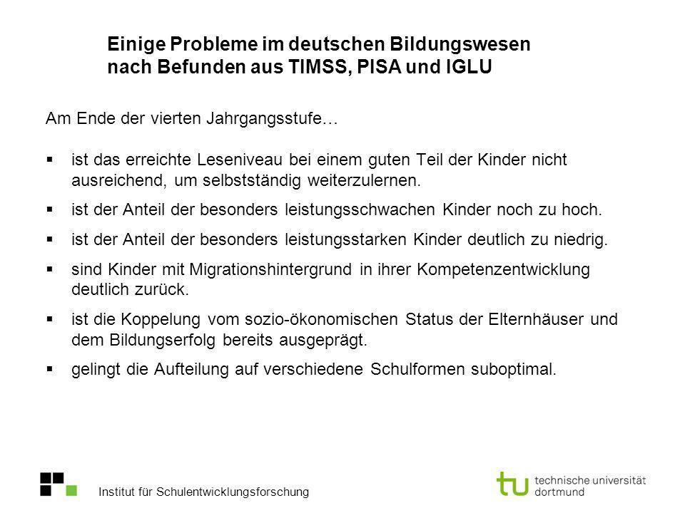 Einige Probleme im deutschen Bildungswesen nach Befunden aus TIMSS, PISA und IGLU