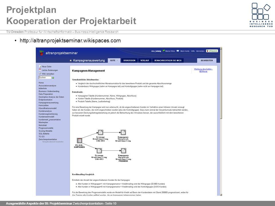 Projektplan Kooperation der Projektarbeit