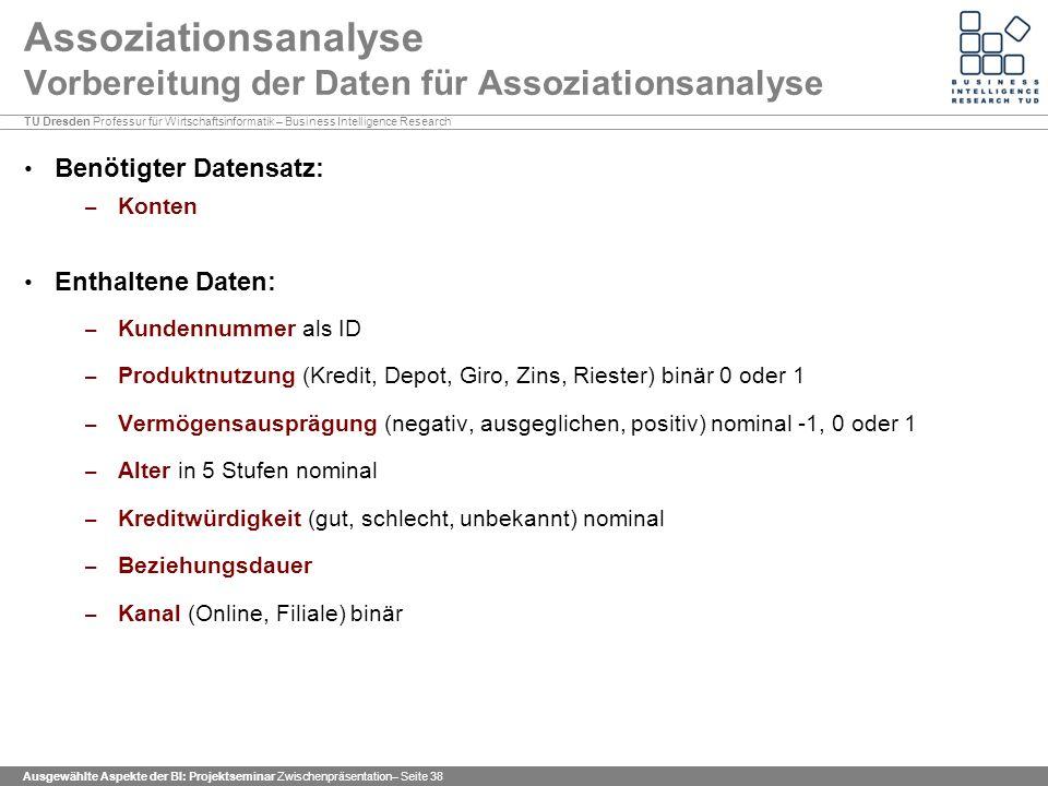 Assoziationsanalyse Vorbereitung der Daten für Assoziationsanalyse