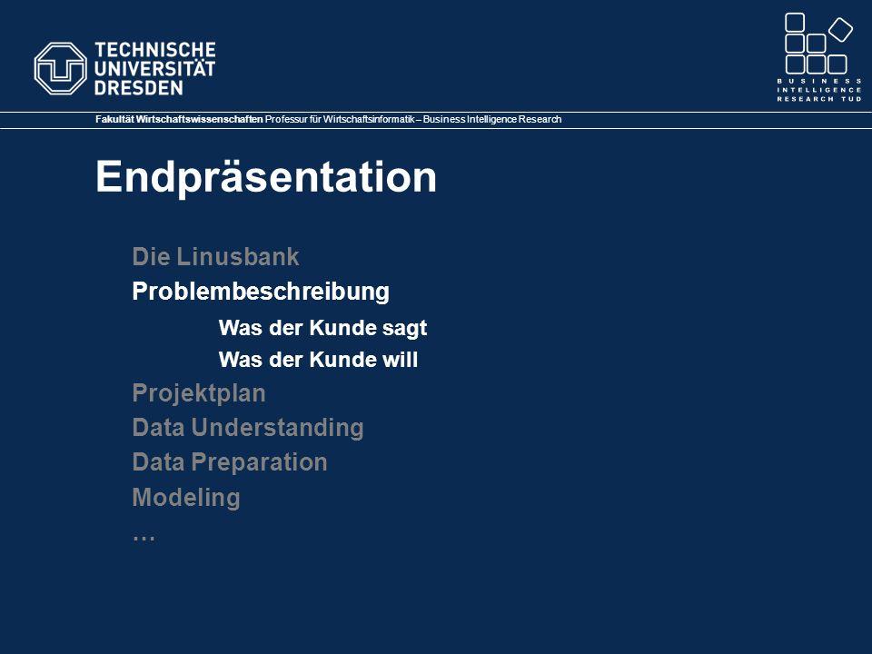 Die Linusbank Problembeschreibung Was der Kunde sagt Projektplan