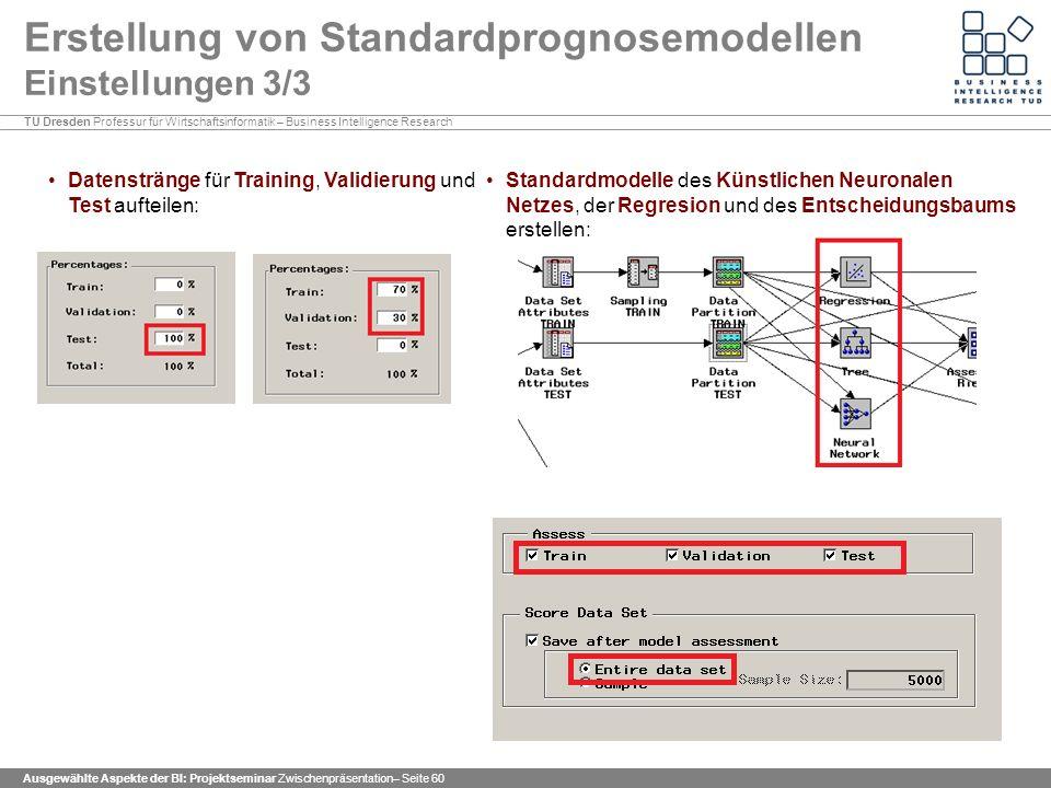 Erstellung von Standardprognosemodellen Einstellungen 3/3