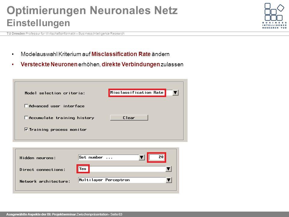 Optimierungen Neuronales Netz Einstellungen
