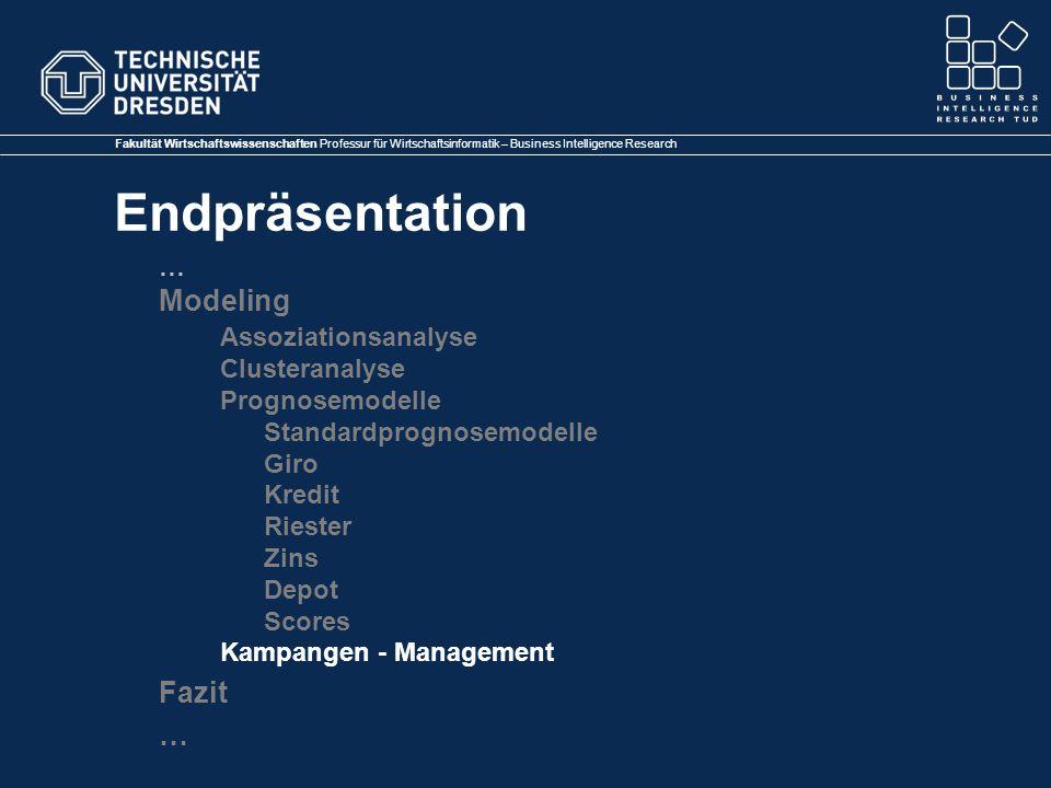 Modeling Assoziationsanalyse Fazit … Clusteranalyse Prognosemodelle