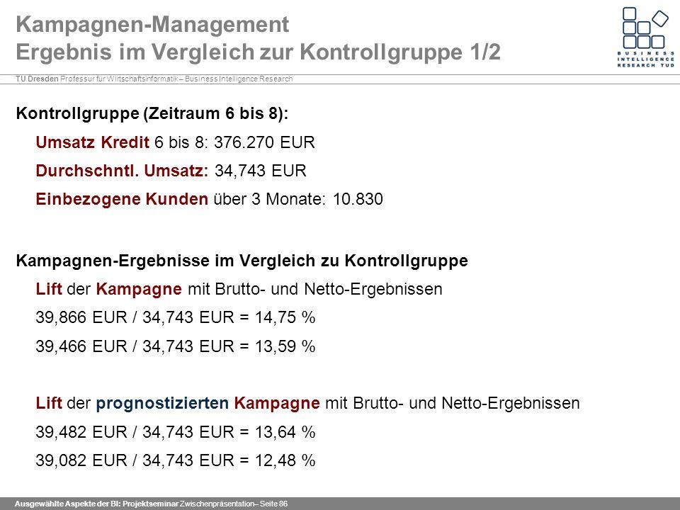 Kampagnen-Management Ergebnis im Vergleich zur Kontrollgruppe 1/2