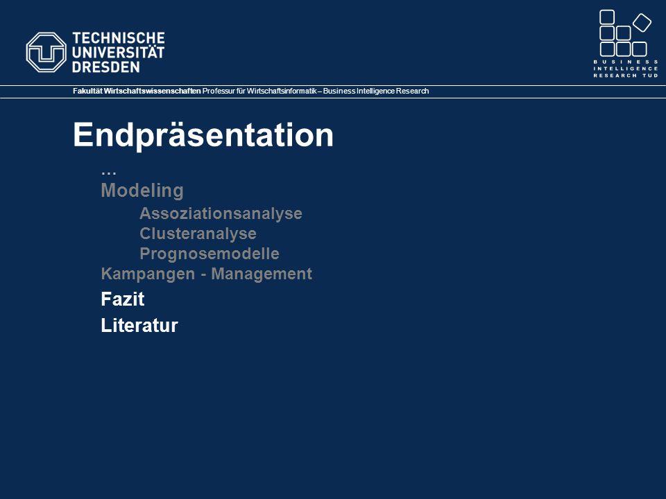 Modeling Assoziationsanalyse Fazit Literatur … Clusteranalyse