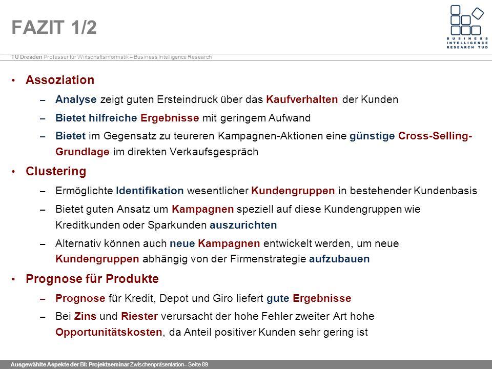 FAZIT 1/2 Assoziation Clustering Prognose für Produkte