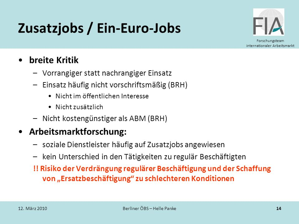 Zusatzjobs / Ein-Euro-Jobs