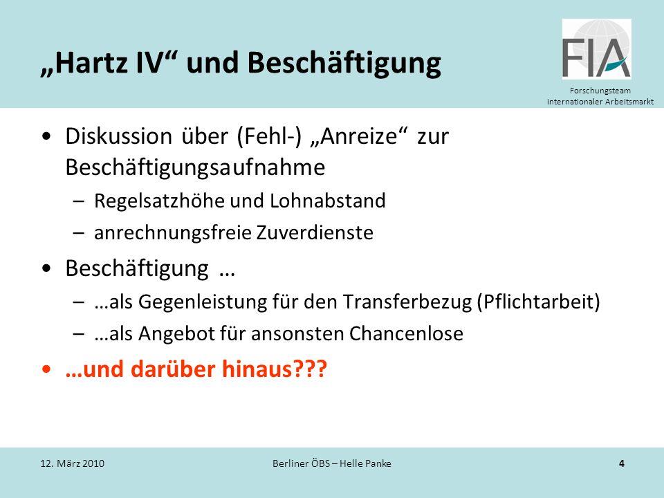 """""""Hartz IV und Beschäftigung"""