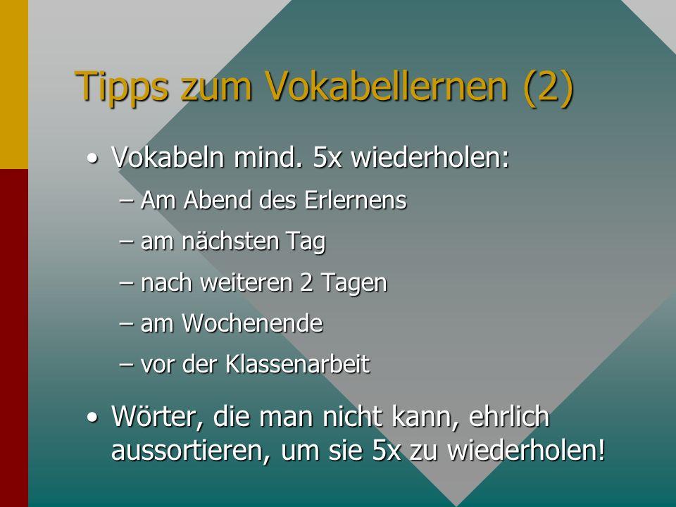 Tipps zum Vokabellernen (2)