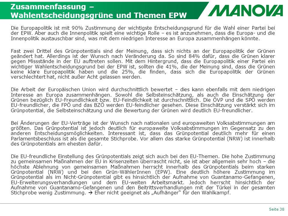Zusammenfassung – Wahlentscheidungsgrüne und Themen EPW