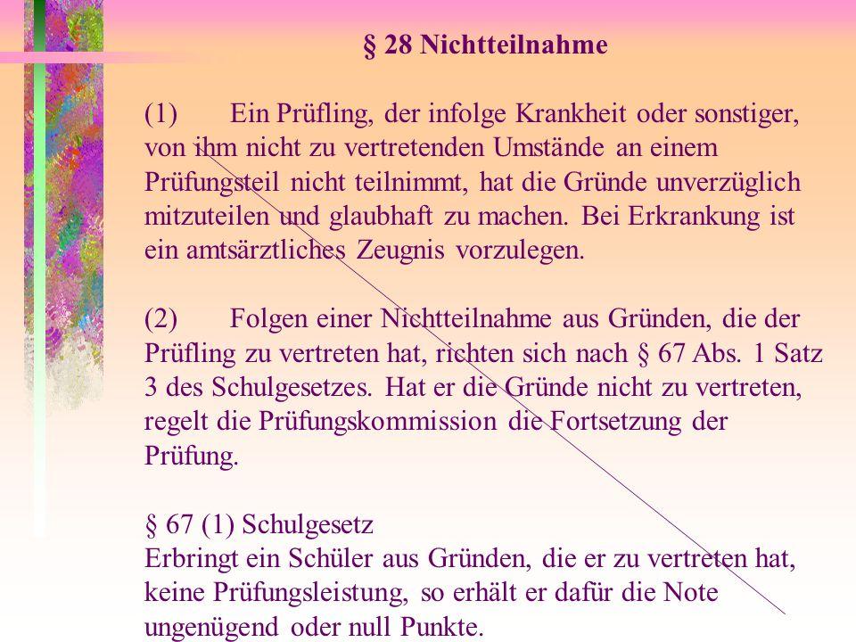 § 28 Nichtteilnahme