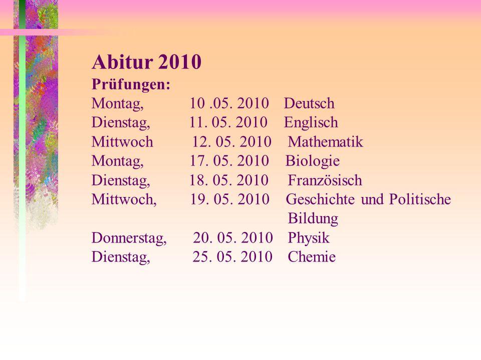 Abitur 2010 Prüfungen: Montag, 10 .05. 2010 Deutsch