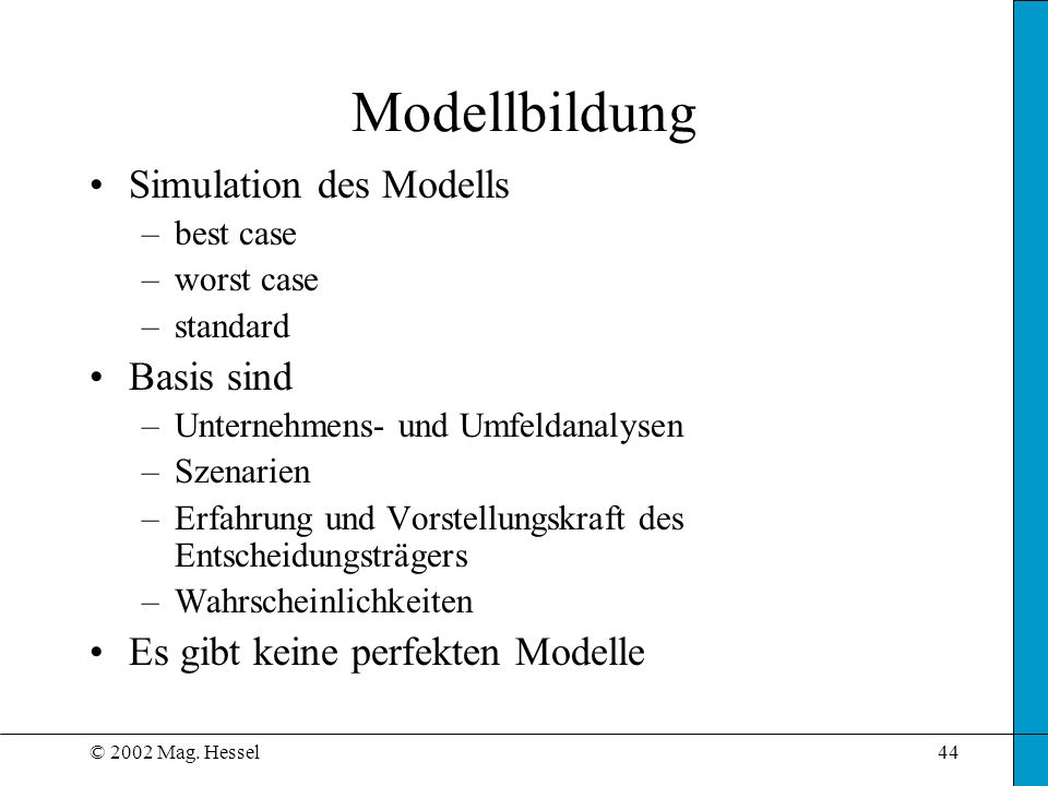 Modellbildung Simulation des Modells Basis sind