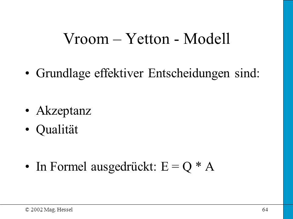 Vroom – Yetton - Modell Grundlage effektiver Entscheidungen sind: