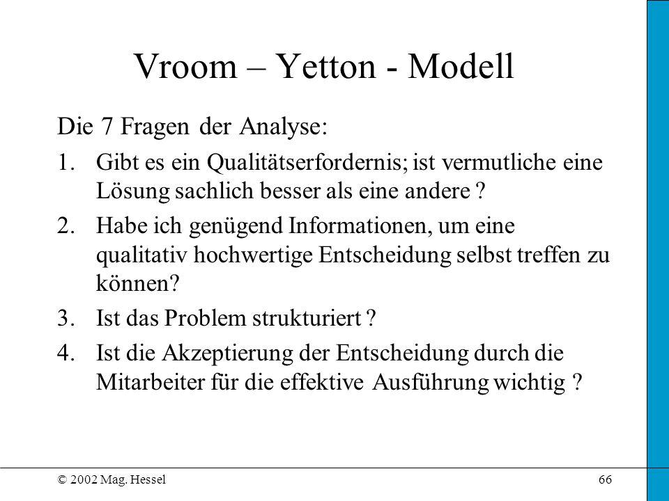 Vroom – Yetton - Modell Die 7 Fragen der Analyse: