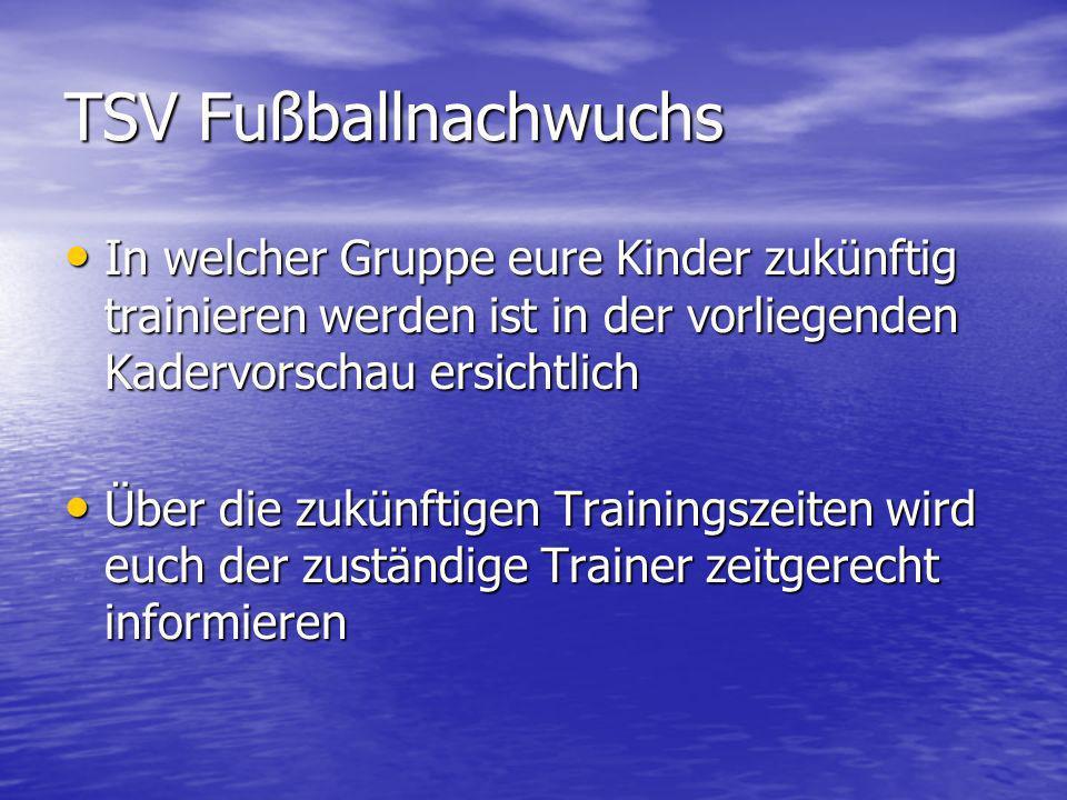 TSV Fußballnachwuchs In welcher Gruppe eure Kinder zukünftig trainieren werden ist in der vorliegenden Kadervorschau ersichtlich.