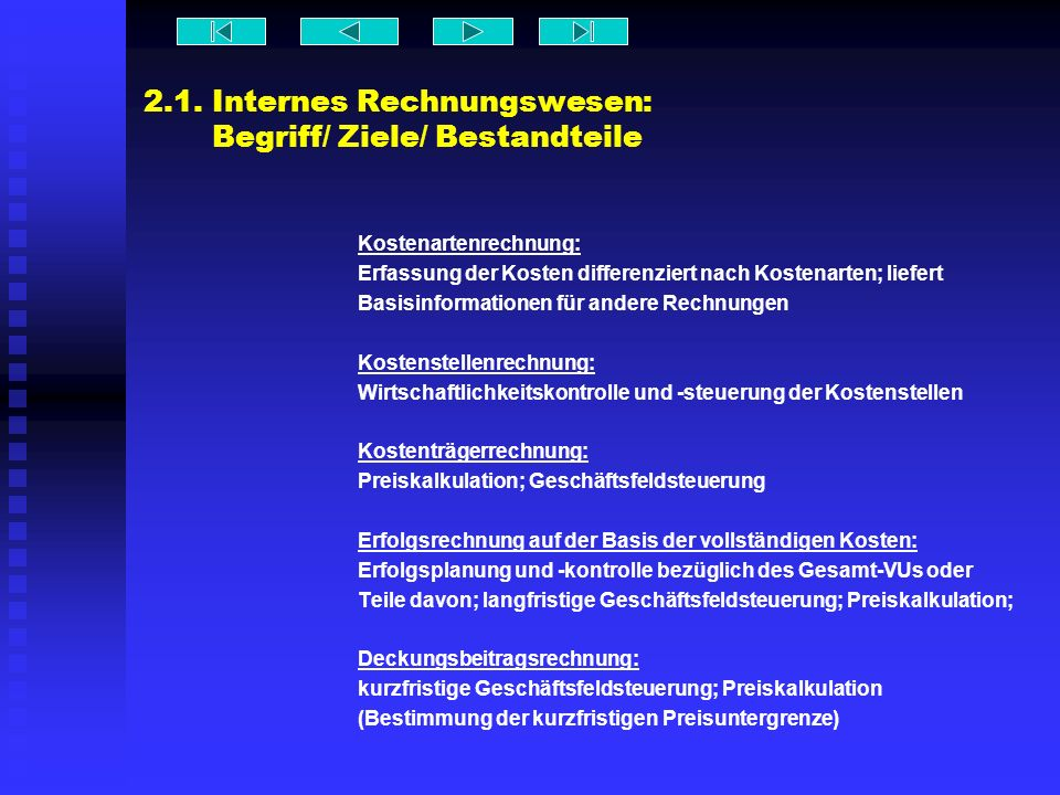 2.1. Internes Rechnungswesen: Begriff/ Ziele/ Bestandteile