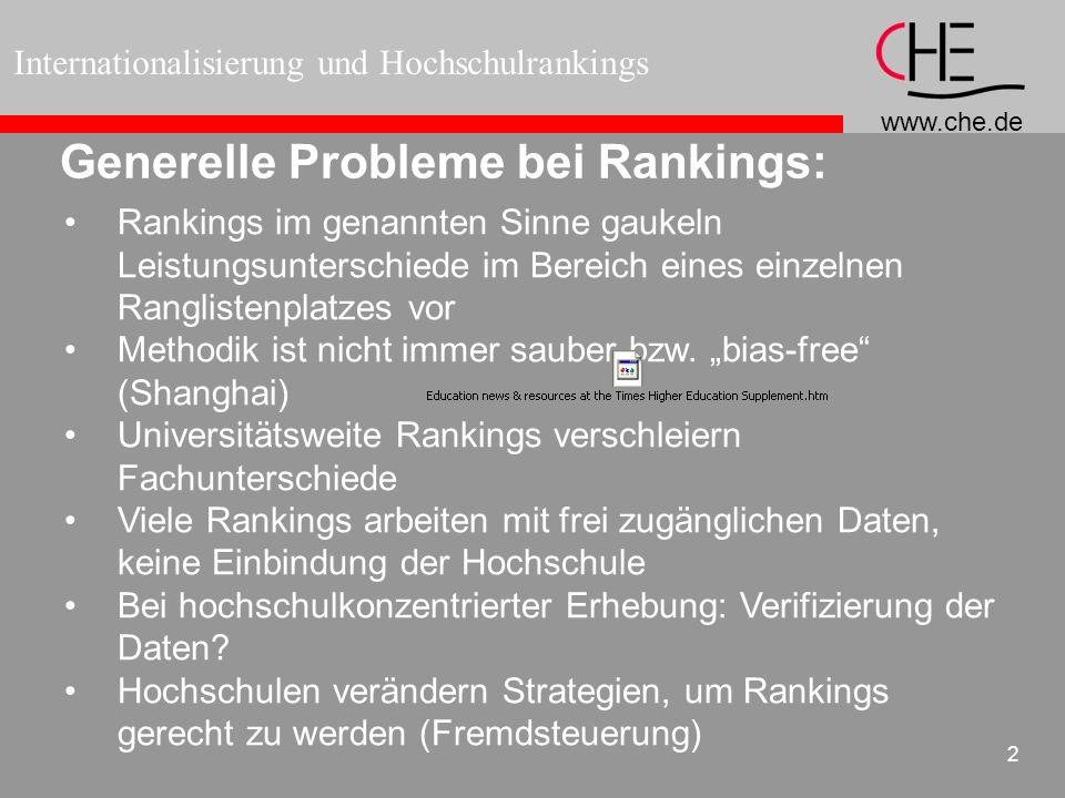 Generelle Probleme bei Rankings: