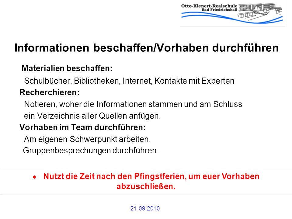 Informationen beschaffen/Vorhaben durchführen