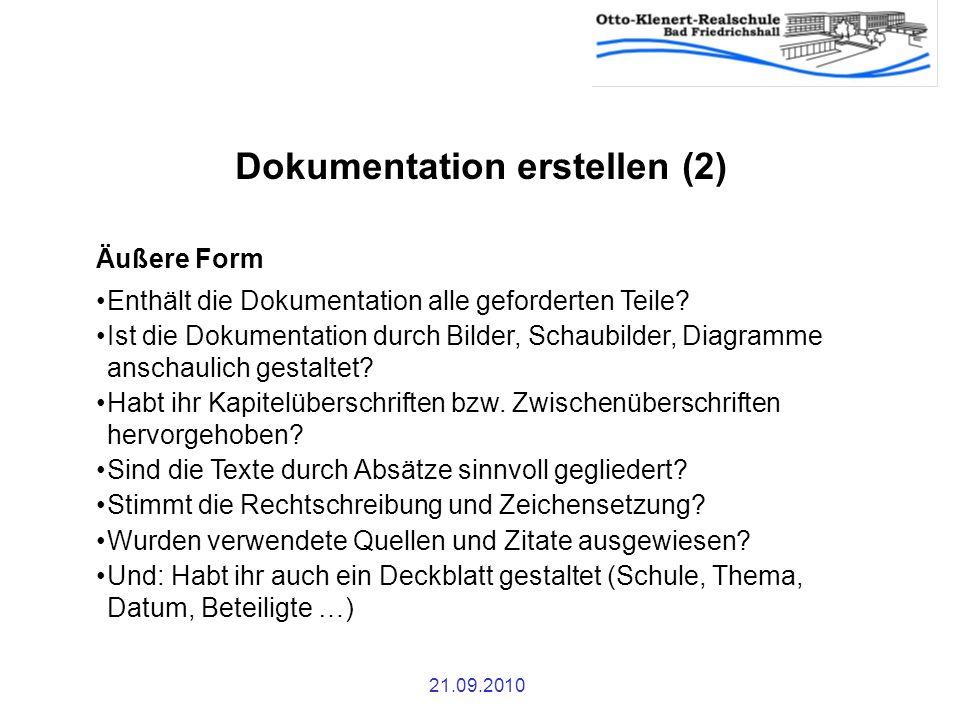 Dokumentation erstellen (2)