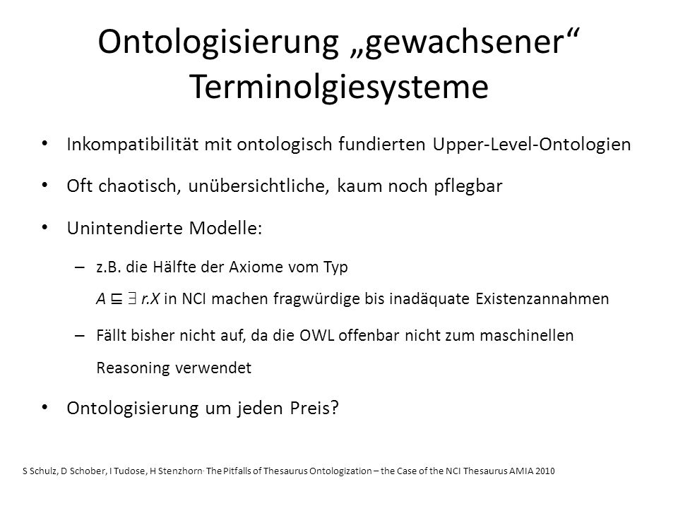 """Ontologisierung """"gewachsener Terminolgiesysteme"""