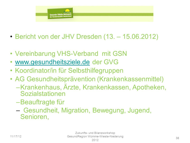Zukunfts- und Bilanzworkshop GesundRegion Wümme-Wieste-Niederung 2012