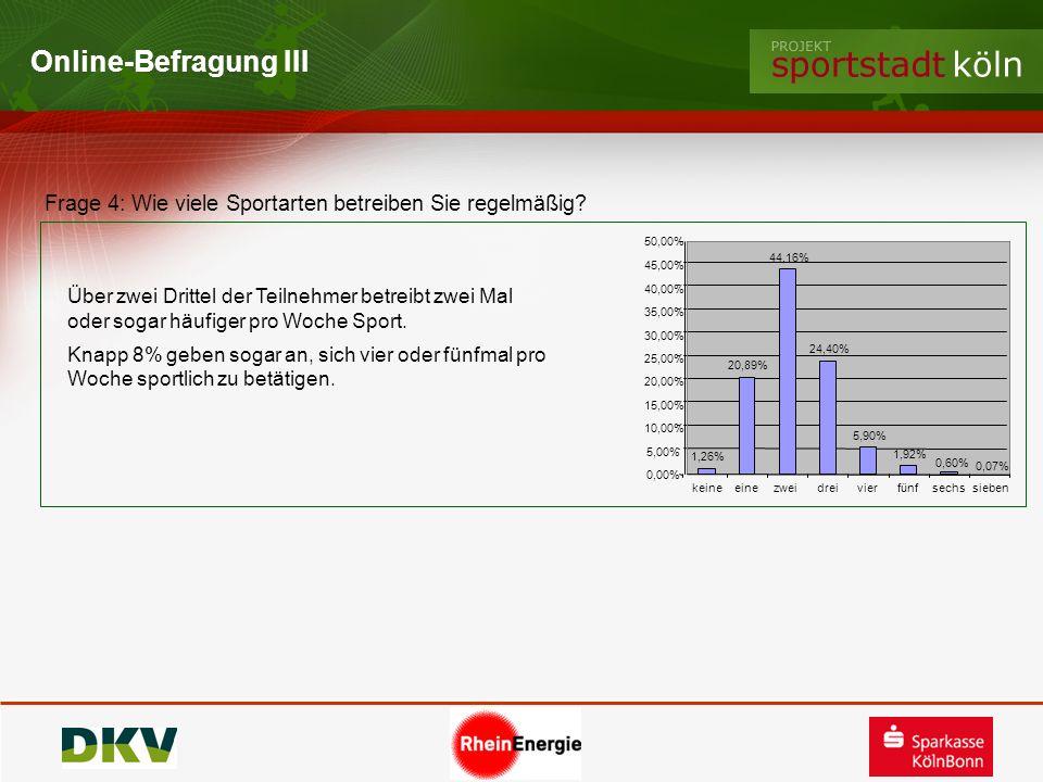 Online-Befragung III Frage 4: Wie viele Sportarten betreiben Sie regelmäßig 50,00% 44,16% 45,00%