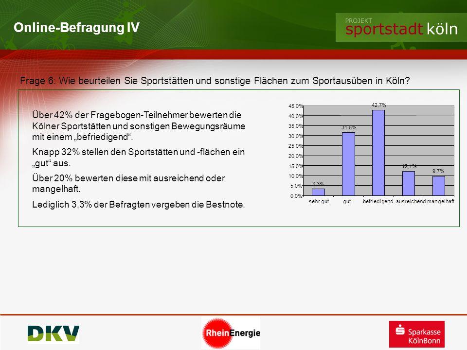 Online-Befragung IV Frage 6: Wie beurteilen Sie Sportstätten und sonstige Flächen zum Sportausüben in Köln