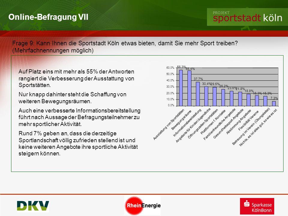 Online-Befragung VII Frage 9: Kann Ihnen die Sportstadt Köln etwas bieten, damit Sie mehr Sport treiben