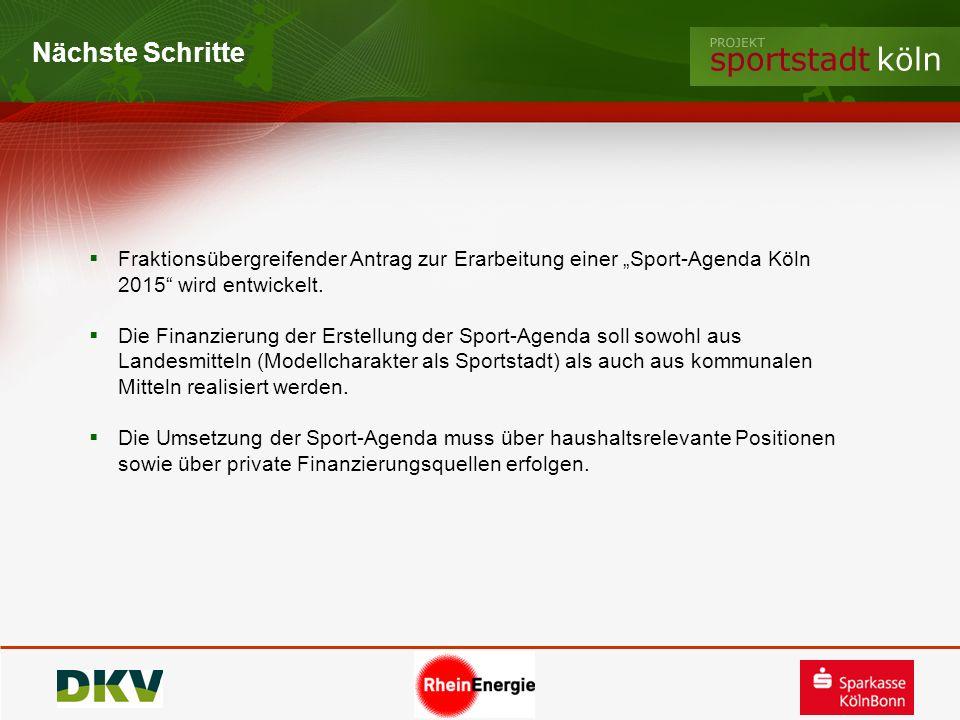"""Nächste Schritte Fraktionsübergreifender Antrag zur Erarbeitung einer """"Sport-Agenda Köln 2015 wird entwickelt."""