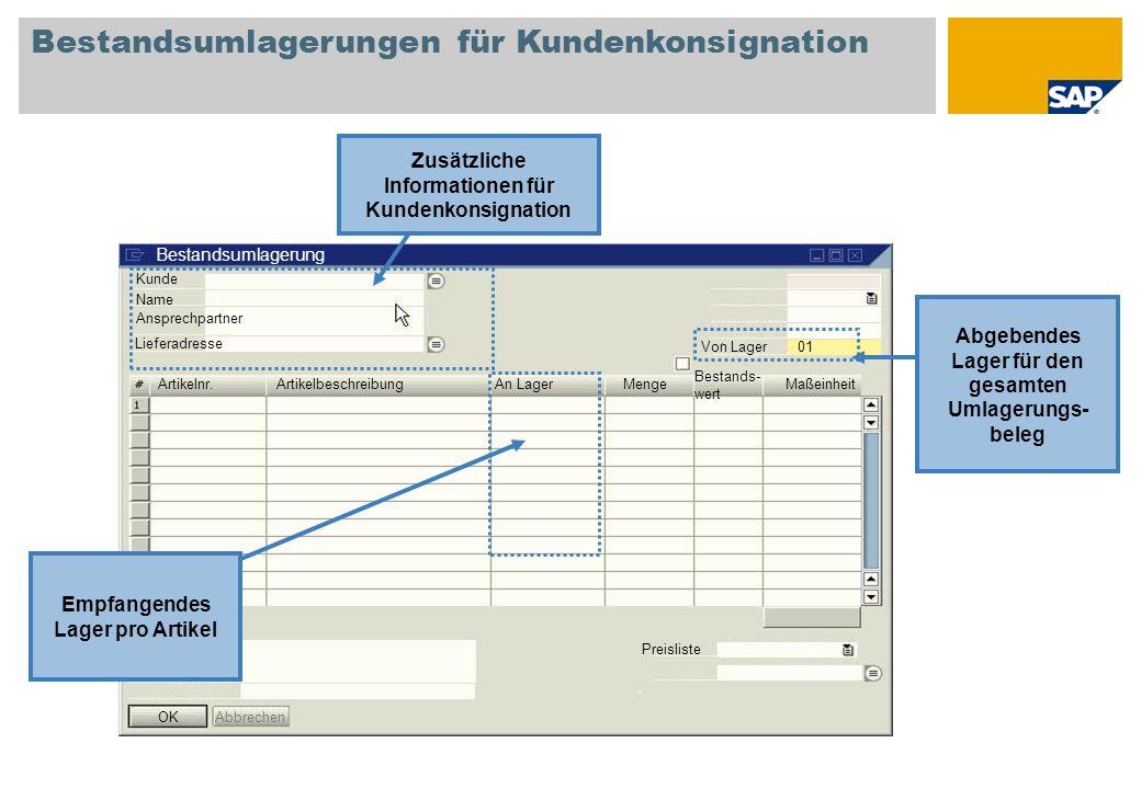 Bestandsumlagerungen für Kundenkonsignation
