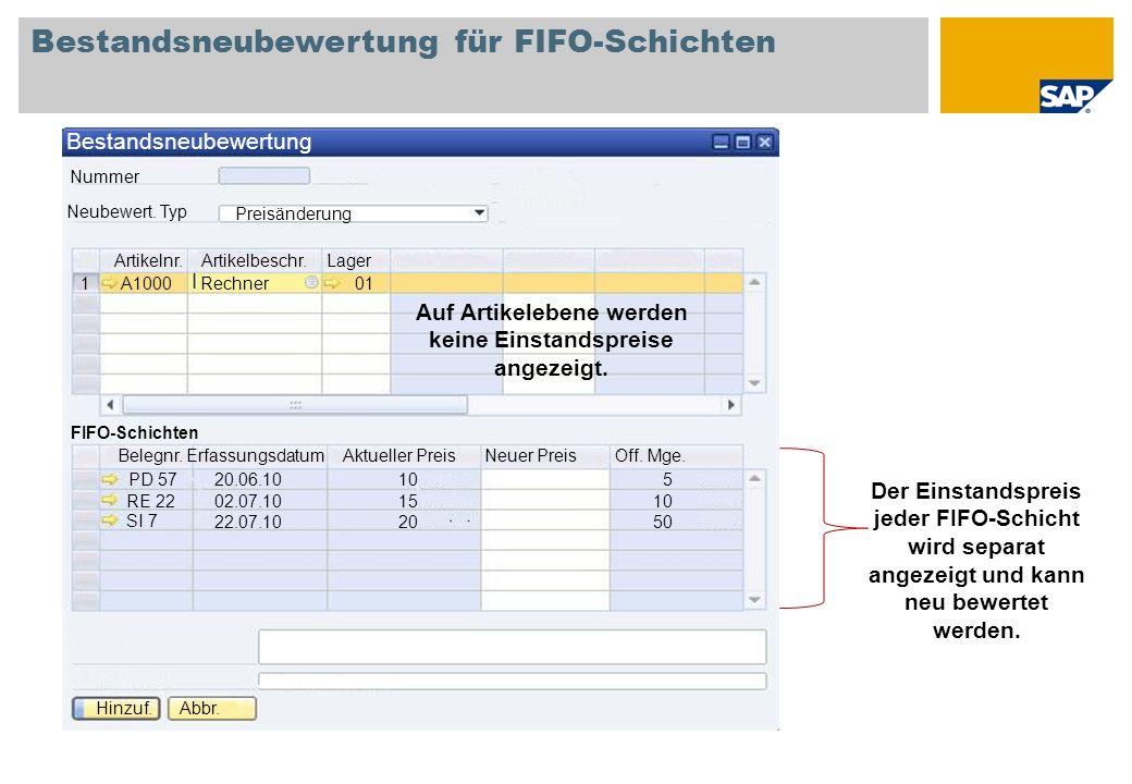 Bestandsneubewertung für FIFO-Schichten