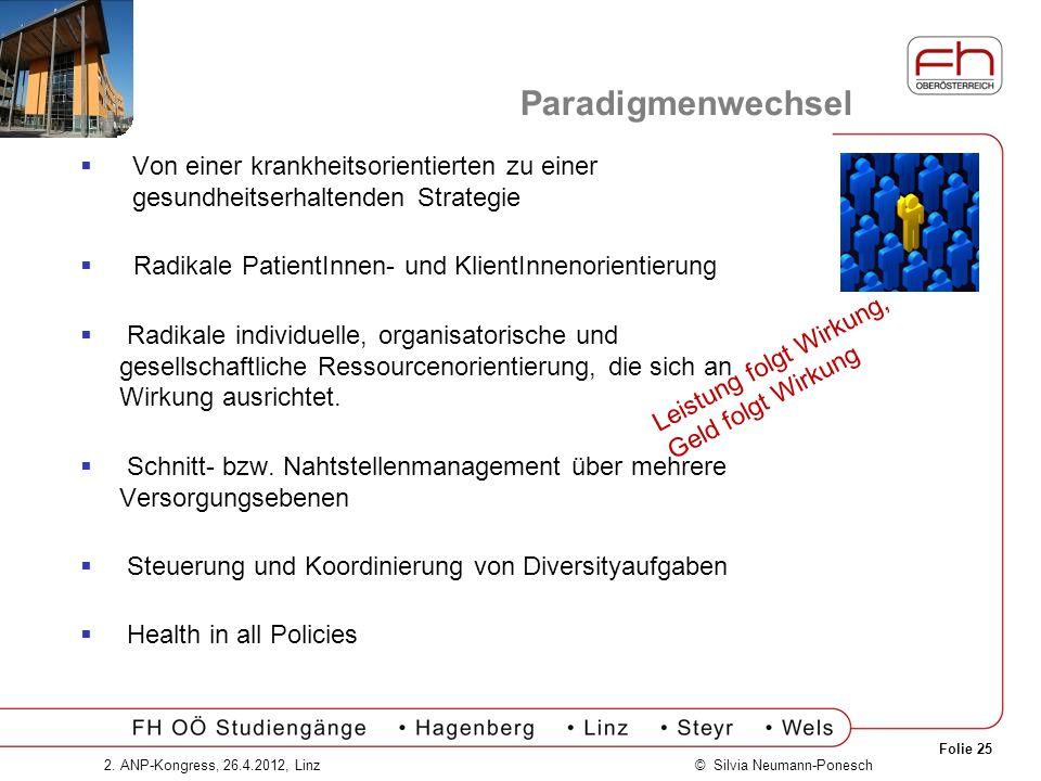 Paradigmenwechsel Von einer krankheitsorientierten zu einer gesundheitserhaltenden Strategie. Radikale PatientInnen- und KlientInnenorientierung.