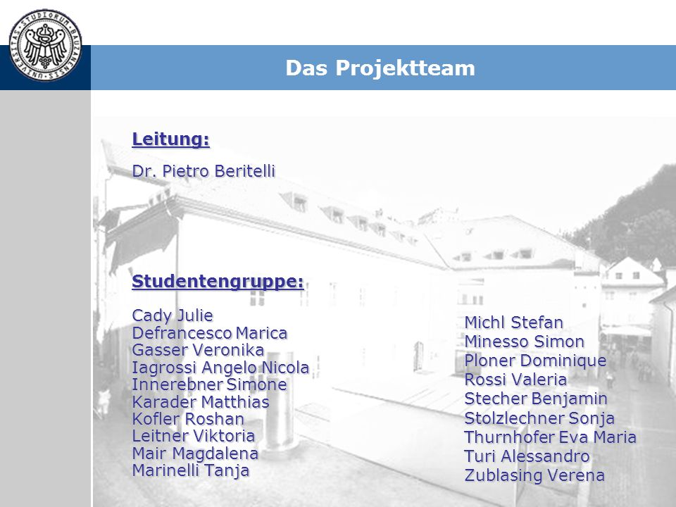 Das Projektteam Leitung: Studentengruppe: Dr. Pietro Beritelli