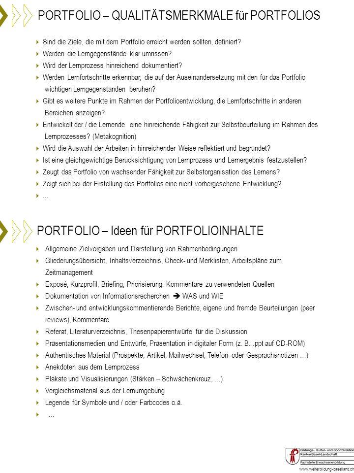 PORTFOLIO – QUALITÄTSMERKMALE für PORTFOLIOS