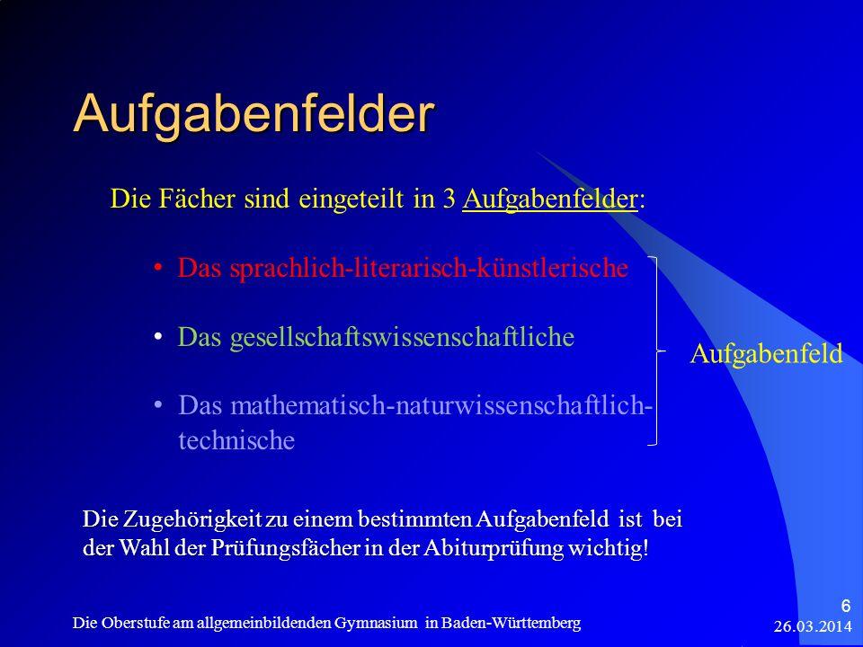 Aufgabenfelder Die Fächer sind eingeteilt in 3 Aufgabenfelder: