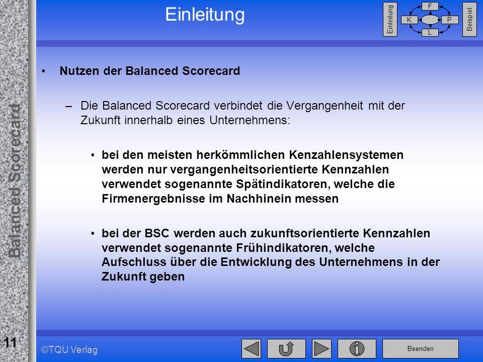 Einleitung Nutzen der Balanced Scorecard