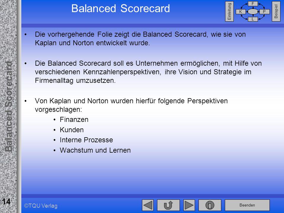 Balanced Scorecard Die vorhergehende Folie zeigt die Balanced Scorecard, wie sie von Kaplan und Norton entwickelt wurde.