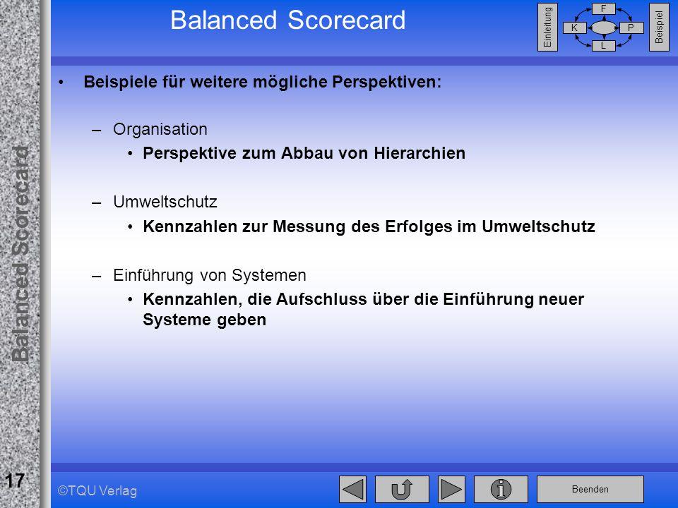 Balanced Scorecard Beispiele für weitere mögliche Perspektiven: