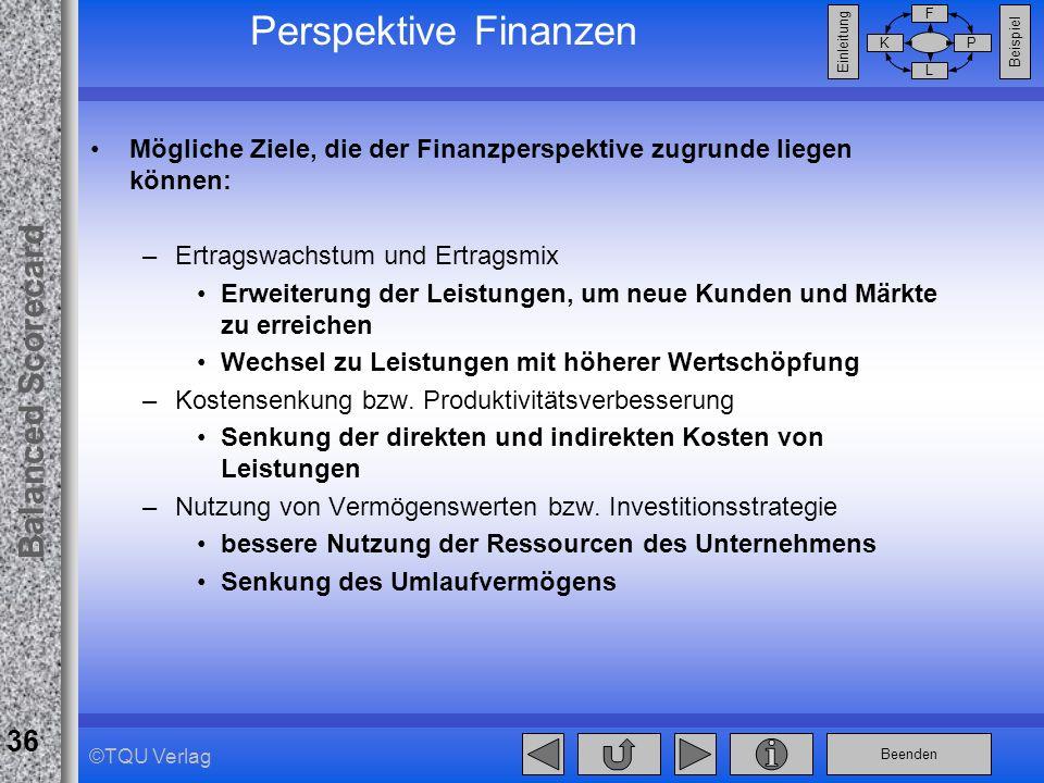 Perspektive Finanzen Mögliche Ziele, die der Finanzperspektive zugrunde liegen können: Ertragswachstum und Ertragsmix.