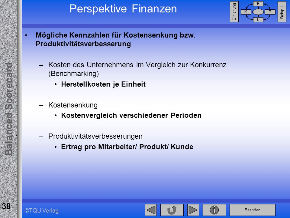 Perspektive Finanzen Mögliche Kennzahlen für Kostensenkung bzw. Produktivitätsverbesserung.