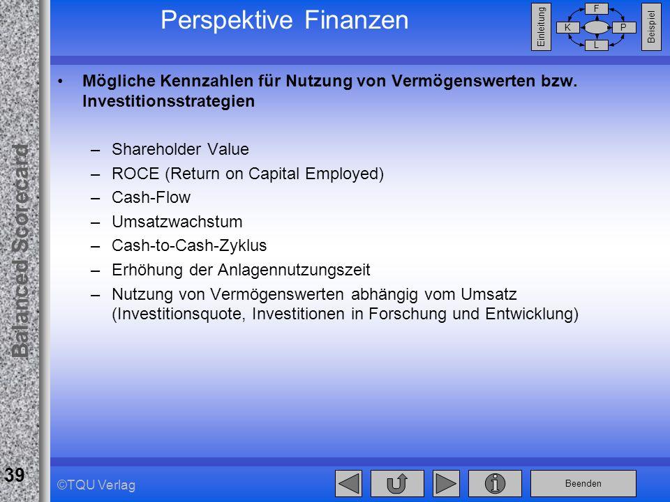 Balanced Scorecard Perspektive Finanzen. 28.03.2017. Mögliche Kennzahlen für Nutzung von Vermögenswerten bzw. Investitionsstrategien.